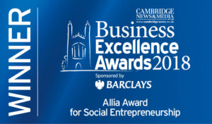 Logo for Winner of the Allia Award for Social Entrepreneurship in the Business Excellence Awards 2018