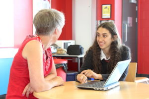 Sarah Stones (Plain Sailing Motivation) with her mentee, Year 10 student Jasmine, at North Cambridge Academy