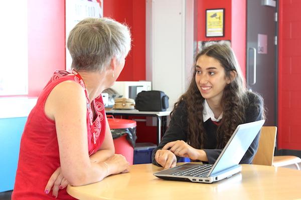 Sarah Stones (Plain Sailing Motivation) with her mentee, Year 10 student Jasmine, at North Cambridge Academy